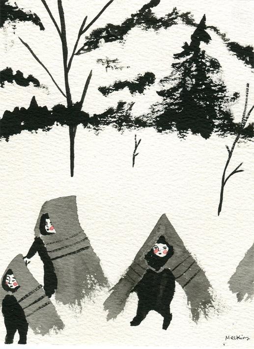 Painting referencing a photograph by Hiroshi Hamaya