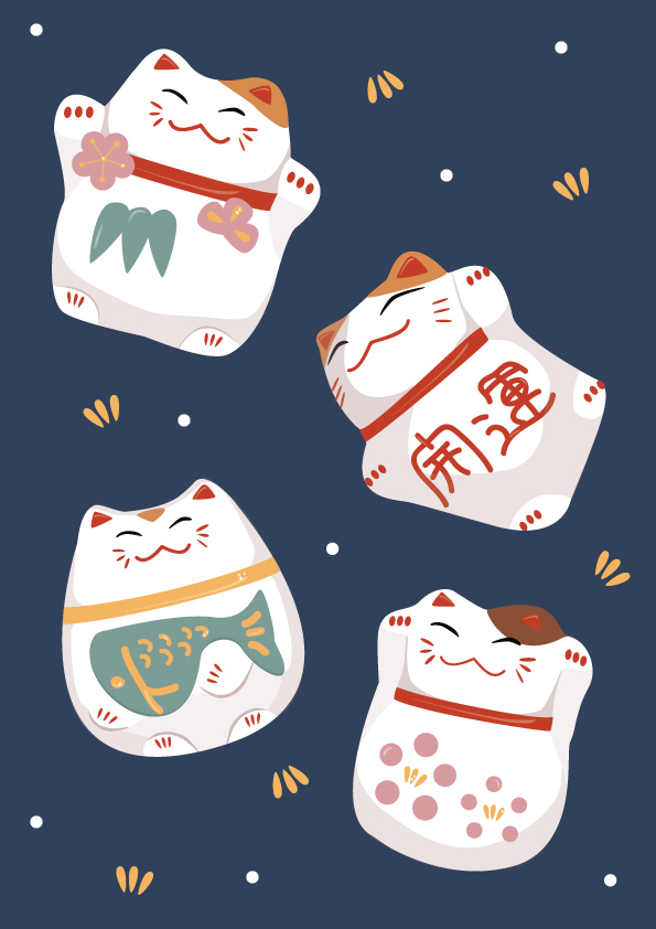 Illustrated Japanese Lucky cats, a wrapping paper concept for Dutch design Agency, Loaded Ink.