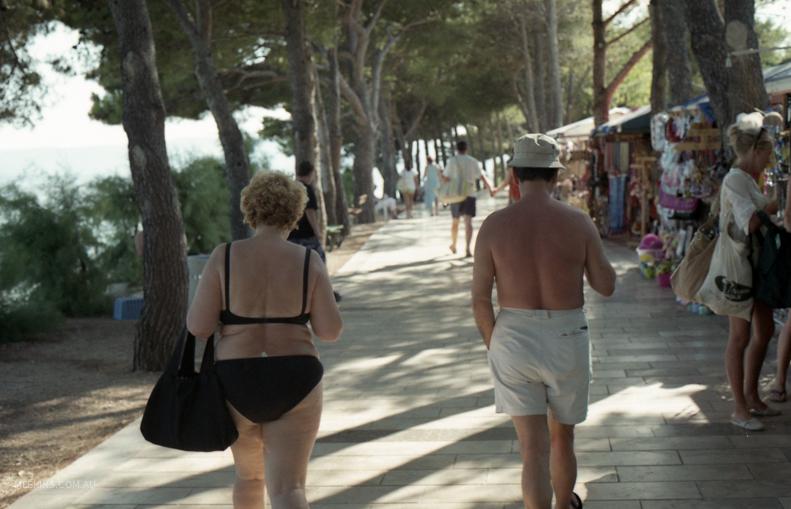Enjoying the heat at Bol Beach, Croatia.