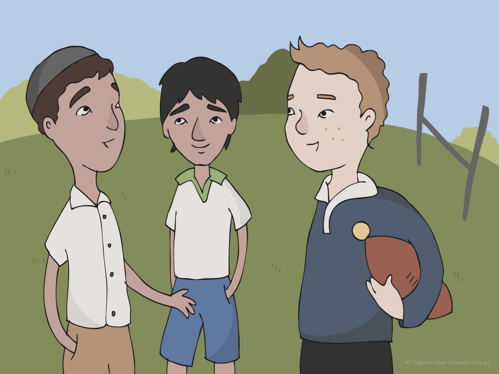 One of many illustrations I provided for an interactive educational app to help end racism in Australian schools.
